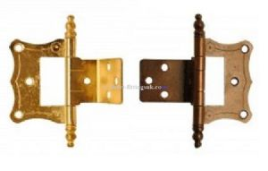 Single Cranked 16mm flush finial  hinges. BRASSED/BRONZED. Cabinet/Caravan/Motorhome 50mm